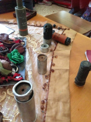A display of a few of the tear gas cannisters that the Israeli army has used against peaceful protesters from Nabi Saleh.