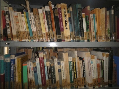 Books on a bookshelf in the Prisoners' Section, Nablus Public Library